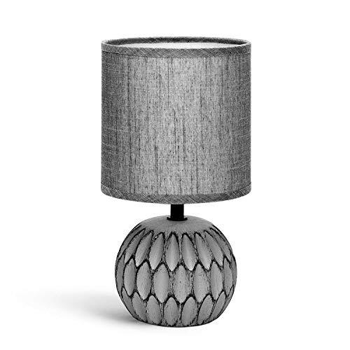 Aigostar - Lámpara de mesa, cuerpo de diseño en relieve color gris, pantalla de tela color gris, Lámpara de cerámica E14. Perfecta para el salón, dormitorio o recibidor, H26cm