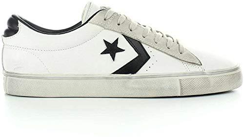 Converse Lifestyle PRO Leather Vulc Distressed Ox, Scarpe da Ginnastica Basse Unisex-Adulto, Multicolore (Star White/Black/Vaporous Grey 100), 43 EU