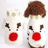 POPETPOP Costumi Natalizi per Cani Modello Alce Animali Inverno Vestiti Caldi Cuccioli Cappotti Giacca Cane Abbigliamento Abiti da Festa per Cagnolino Piccolo Grande - XS