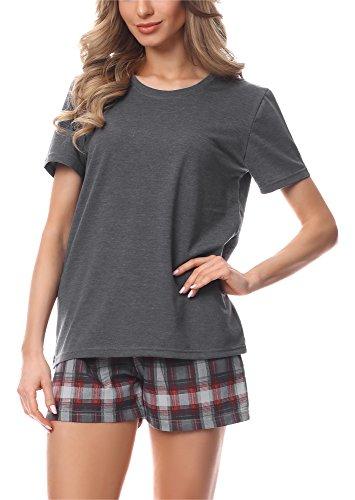 Merry Style Pijama Conjunto Camiseta y Pantalones Mujer MS10-177 (Mélange Oscuro/Burdeos, S)