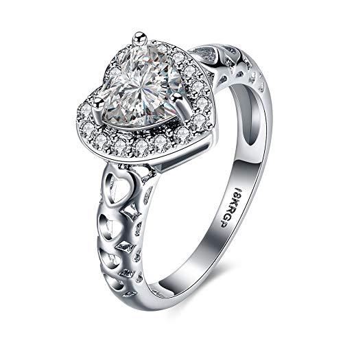 Thumby-ring Vrouwen Romantische Bruiloft Zirkoon Brons Hart Gevormde Platte Ringen Bruiloft Ringen Diamanten Harten & Pijlen Drie Klauwen Hartvormige Verlovingsringen Wit Goud Ringen