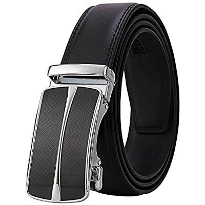 "Lavemi Men's Real Leather Ratchet Dress Belt with Automatic Buckle,Elegant Gift Box(55-0093 Black 44"")"