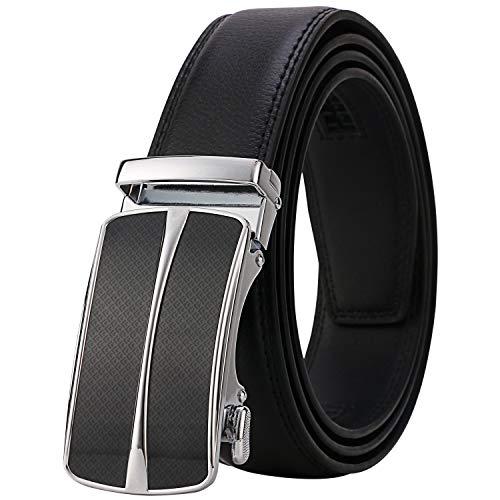Lavemi Men's Real Leather Ratchet Dress Belt with Automatic Buckle,Elegant Gift Box(55-0093 Black...