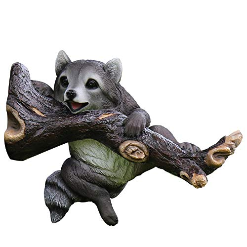CMMWA Garden Statues and Sculptures Outdoor Garden Raccoon Ornament Outdoor Landscape Tree Pendant Resin Animal Simulation Raccoon Villa Garden Courtyard Yard Decoration Ideas (Size : 34 * 14 * 25cm)