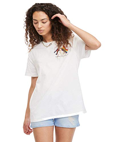 Tommy Hilfiger womens Tommy Hilfiger Unisex Pride T Shirt, Classic White, Small US