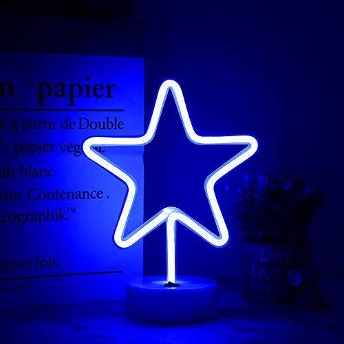 DANIDEER Letrero de neón con luces decorativas para mesa, lámpara de neón con base para dormitorio infantil y niña, regalo único para cualquier ocasión (estrella azul con base)