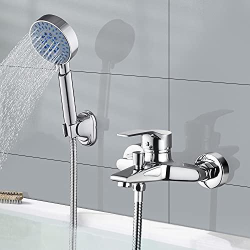 WOOHSE Badewannenarmatur mit 5 Strahlarten Handbrause, Elegant Chrom Einhebel Armatur Badewanne Wasserhahn, Duschkopf mit Schlauch und Wandhalterung, Dusche Set für Badewanne, Bad