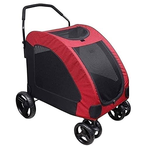 Yokbeer Cochecito para Mascotas de Cuatro Ruedas Cochecito de Viaje Plegable para Mascotas Carro para Perros Carro para Gatos para Perros Y Gatos Medianos de hasta 55 Kg (Color : Red)