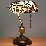 GUOGEGE Tiffany-Stil Tischlampe Banker 15,3 Zoll groß Europäische Retro-Bank Lampe Glasmalerei Lampshade, für Couchtisch Arbeitstisch Kommode Bücherregal Wohnzimmer, YF025