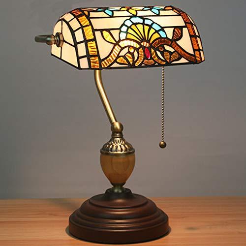 GUOGEGE Tiffany stijl tafellamp bankier 15,3 inch hoog Europese retro bank lamp gebrandschilderd glas lampenkap, voor koffie tafel bureau dressoir boekenkast woonkamer, YF025