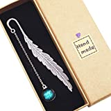 Toirxarn Colgante fluorescente hecho a mano 12 Constelación Marcapáginas de plumas de plata antigua de metal, es un regalo ideal para lectores, niñas, amigos, compañeros de clase.
