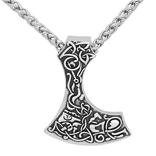 NICEWL Viking Vintage bijl hanger halsketting, Noordse mythologie Odin Tomahawk Totem heren amulet, handgemaakte Scandinavische bedelsieraden