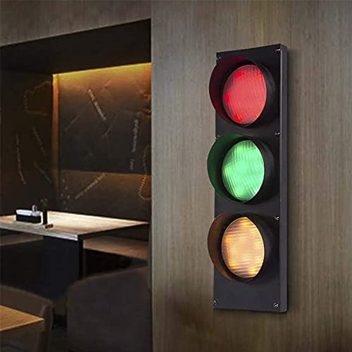 QDF Retro Wall Lamp Traffic Light LED Dimmable, Creative Road Safety Signs with Remote Control, for Garage Home Themed Parties