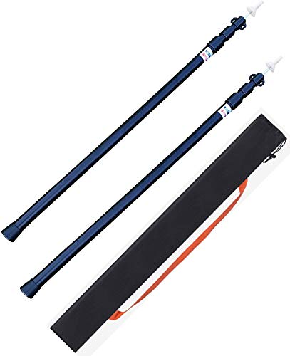 ポール アルミテントポール タープ用ポール 2本セット 組立不要 ワンタッチ 伸縮式 長さ調整簡単 スライド式 軽量 (ブラック)