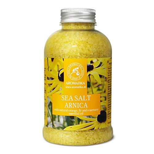 Badesalz Arnika 600g - Meersalz mit 100% Natürlichem Ätherischen Orangenöl - Rosmarinöl & Tannenöl - Besten für Guten Schlaf - wohltuend für Muskeln und Gelenke - Stressabbau - Entspannung