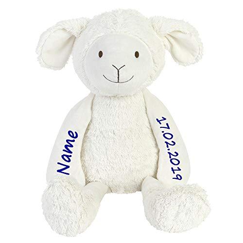 Elefantasie Lämmchen Stofftier Schaf mit Namen und Geburtsdatum personalisiert 26cm