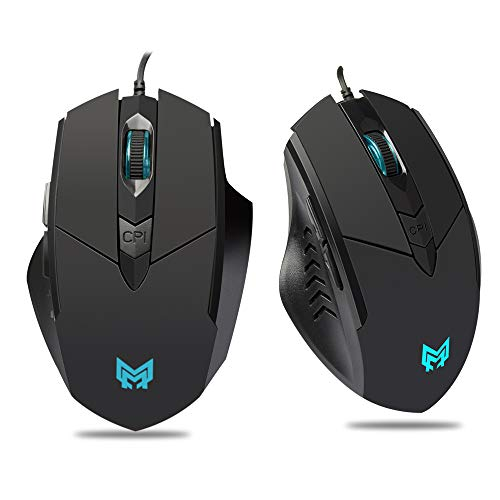 Gaming Mouse Wired,Comfortable Computer USB Optical Mouse Ergonomic,Breathing Colorful LED Light,4 Adjustable DPI(1200/1600/2400/3200)Wired Black 6 Buttons Mouse Gamer for laptop PC Mac Computer,etc.