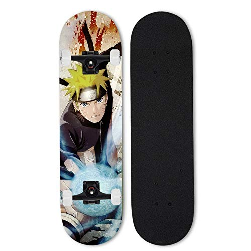 FWAHB Naruto: Uzumaki Naruto, Skateboard, Doppel Tilt vierrädrigen Motorroller, Anfänger Skateboard, Außenextremsport Longboard, Junge und Teenager-Geschenk