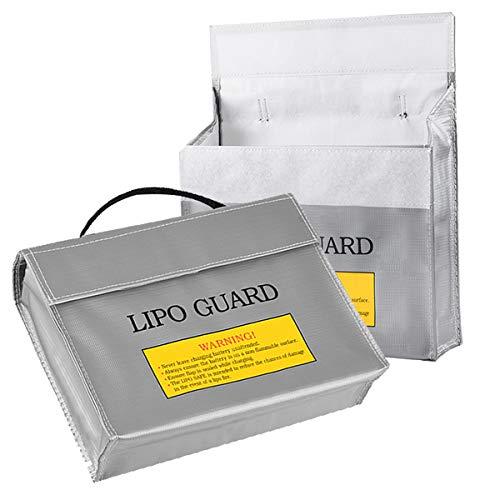 Bolsa Batería LiPo Ignífuga,Xiuyer 2 Piezas Batería Guardia Bolso para Seguridad Cargar Almacenar Transporte(240x65x180mm, Plata)