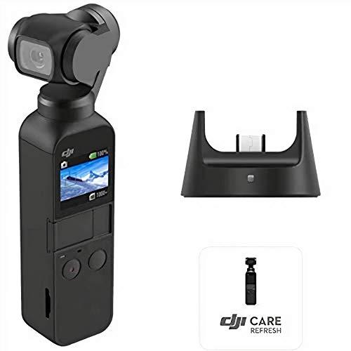 DJI Osmo Pocket Prime Combo - 3-Achsen Gimbal Stabilisator mit Zubehörkit inkl. Funkmodul und Care Refresh, integrierte Kamera 12MP 1/2,3 Zoll CMOS 4K Video, kompatibel mit iPhone und Android