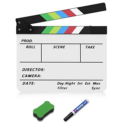 Flexzion Director Clapboard Film Movie Clapper Board Acrylic Plastic Dry Erase Stadio Camera TV Video Cut Action Scene Slate Board 10x12' with Color Sticks