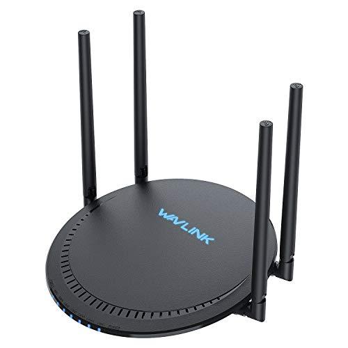 WAVLINK AC1200 Dualband-WLAN-Router (2,4 GHz, 300 Mbit/s + 5 GHz, 867 Mbit/s) mit 4 externen High-Gain-Antennen und USB 2.0-Anschluss