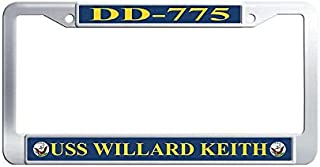 Hensonata USS Willard Keith DD-775 Car tag Frame, Funny Waterproof Metal Car License Plate Holder with Screw Caps for US V...