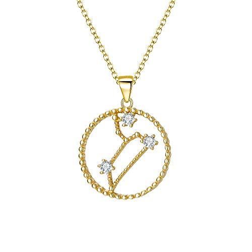 EVER FAITH Damen Halskette 925 Sterling Silber CZ Kreis Horoskop 12 Constellation Sternbild Löwe Anhänger Einfach Kette Gold-Ton