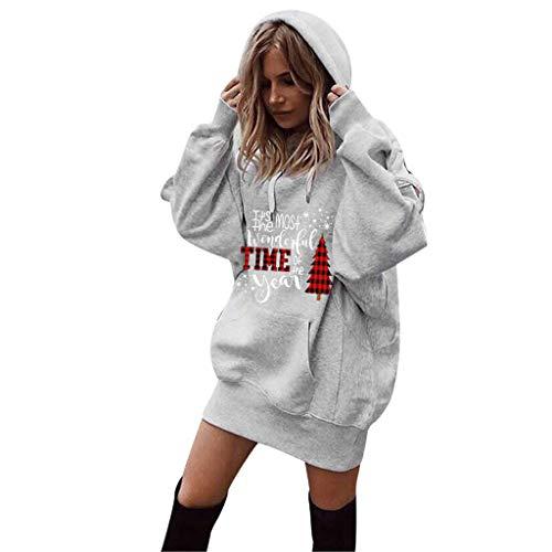 Oliviavan,Frauen Mode Patchwork Kleidung Hoodies Pullover Sweatshirt Damen Langarm Lose Bluse Hemd Shirt Oversize Blusen Tops Streetwear Strick Herbst Winter Kleid (Grau-3, XXL)