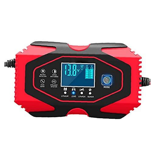 FeelMeet Cargador de batería de Coche de 12V 24V automático Mantenedor de Mantener y Reparar Multifuncion con la Pantalla LCD más Tipos de vehículos