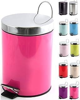 MSV Poubelle à cosmétiques Acier Inoxydable Pink avec Récipient intérieur Amovible Salle de Bains Poubelle à pédale Boîte ...