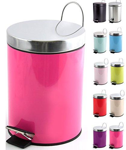 MSV Kosmetikeimer 'Pink/Fuchsia' Mülleimer Treteimer Abfalleimer - 3 Liter – mit herausnehmbaren Inneneimer