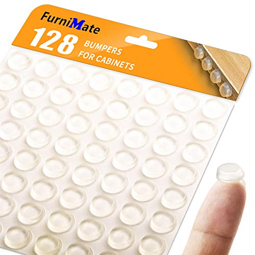 Clear Cabinet Door Drawer Bumpers Pads 128PCS 1/2 Diameter Adhesive Rubber Bumpers for Cabinets Drawer Close Picture Frame Cutting Board Sound Dampening