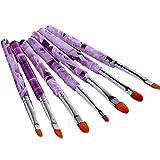 teng hong hui 7PCS / Set manicura UV Gel Pluma del Cepillo para Las uñas de acrílico cristalino del Arte del Clavo de la manija de la Pintura del Cepillo del Dibujo de fototerapia Herramientas