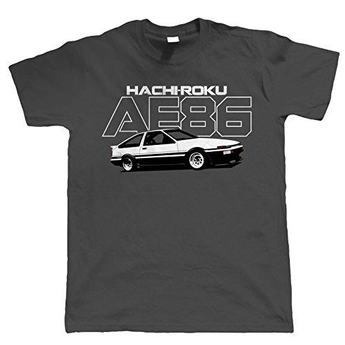 AE86 Hachiroku Mens T-Shirt | Car Pickup Bike Truck Rally Sports SUV Off-Road | Timeless Retro Vintage Iconic Seminal Memorable | Motoring Gift Him Dad Medium Charcoal