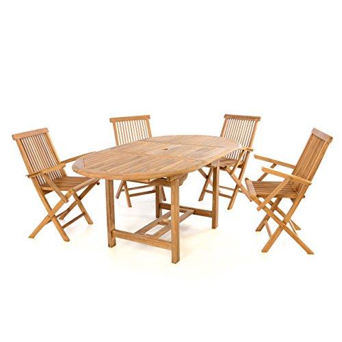 Divero Gartenmöbel-Set Terrassenmöbel-Garnitur Sitzgruppe – Esstisch 120/170 cm ausziehbar & 4X Klappstuhl mit Armlehne – Teakholz massiv behandelt