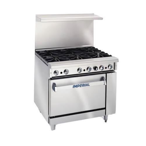 "Imperial Commercial Restaurant Range 36"" W/ 2 Burners 24"" Griddle Standard Oven Nat Gas Ir-2-G24"