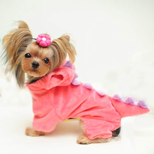 DELIFUR Dinosaur Dog Halloween Costume Pet Dino Hoodie for Small Dogs Cats (S, Pink)