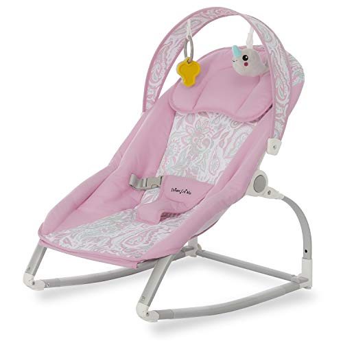 Dream On Me We Rock Rocker, Comforting Rocking Chair with Removable Toy Bar & Hanging Toy in Pink