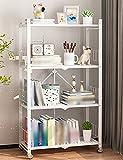 Folding Bookshelf, 4-Tiers Multifunctional Stable Storage Rack, Standing Shelf, Easy Assembly, Living Room, Bedroom/White / 72x37x121cm