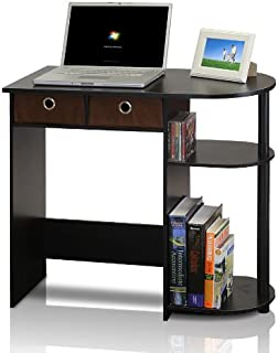 Furinno 11193EX/BK/BR Go Green Home Laptop Notebook Computer Desk/Table, With 2 Bin Drawers, Espresso/Black/Brown