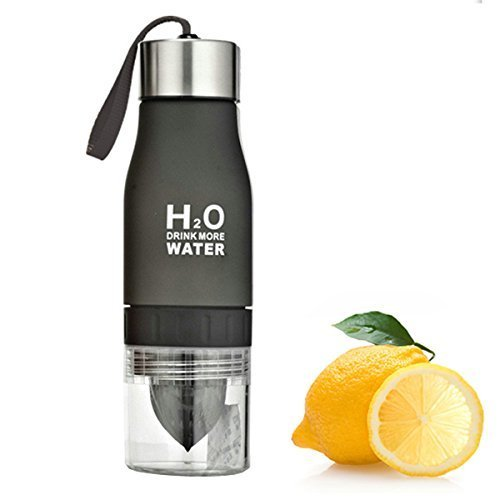 LoCo Motive H2O Lemon/Fruit Infuser Water Bottle - New Version - Leak Proof - BPA Free (Black)