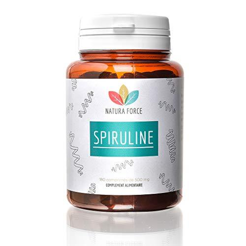 NATURA FORCE - Spiruline Bio (Ecocert) -100% Pure - Riche en Phycocyanine (15%) - Source de Protéines et de Vitamines - Séchée à Froid - Analysée et Conditionnée en France-180 Comprimés de 500 mg