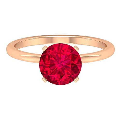 Rosec Jewels 14 quilates oro rosa redonda Red rubí artificial