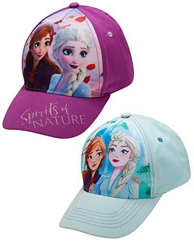 Disney Girls Frozen and Minnie Mouse Cotton Baseball Cap 2 Packs, Frozen Spirit 2 Pack (Size Age 4-7)