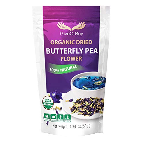 GiveOrBuy Butterfly Pea Flower Tea Organic 1.75 oz (50 g) - Vegan Rich Healthy Herbal Blue Tea - Pure Dried Clitoria Ternatea Flowers for Drinks, Food Coloring, Baking