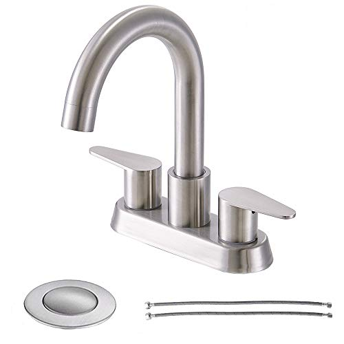 Comllen Modern Commercial Double Handle Laundry Basin Vanity Bathroom Faucet, Brushed Nickel Lavatory Sink Faucet with Pop Up Drain and Supply Hose