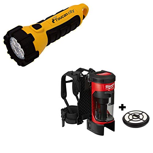 Toucan City LED Flashlight and Milwaukee M18 FUEL 18-Volt Lithium-Ion Brushless 1 Gal. Cordless 3-in-1 Backpack Vacuum with Extra HEPA Filter 0885-20-49-90-1963