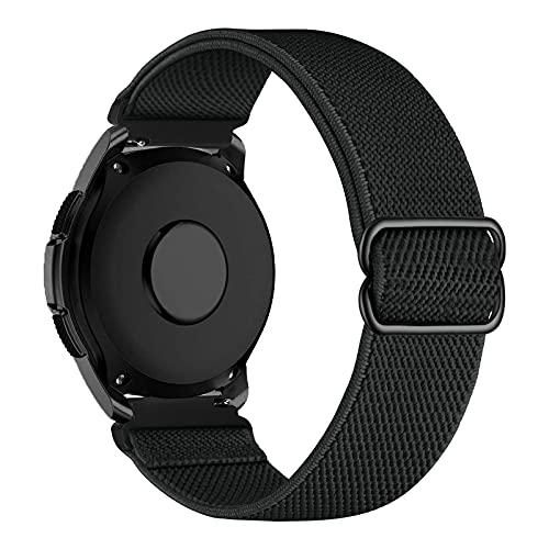 iBazal 20mm Correa Galaxy Watch 3 41mm Nylon Band Trenzada Compatible con Samsung Galaxy Watch Active2 40mm 44mm/Galaxy Watch 42mm Reemplazo para Huawei GT 2 42mm/GTR 42mm/GTS Pulsera Band - Negro