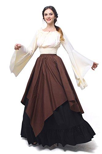 Nuoqi Mujeres Renacimiento Medieval Victoriana Reina Traje De Hombro Partido Vestido Top y Falda (XL, GC229A-NI)